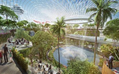 Спектакуларен аеродром во Сингапур со џиновски водопади и стаклена градина